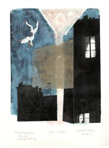 Fallen Angel, mIxed media on paper, 15 x 20, 2016